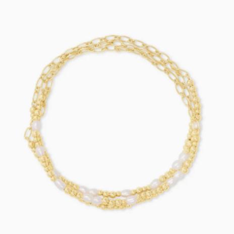 Kendra Scott Mollie Gold Stretch Bracelet Set Of 3 In White Pearl