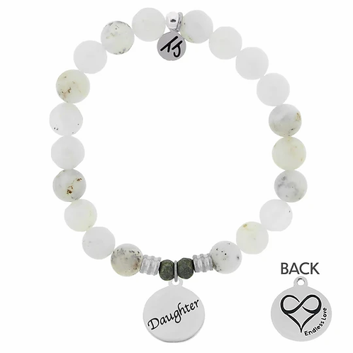 T.Jazelle White Chalcedony Stone Bracelet with Daughter Endless Love Sterling Si
