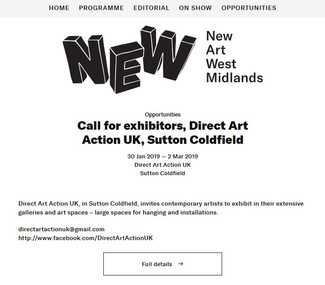 Direct Art Action UK, in Sutton Coldfield, invites contemporary artists to exhibit in their extensiv