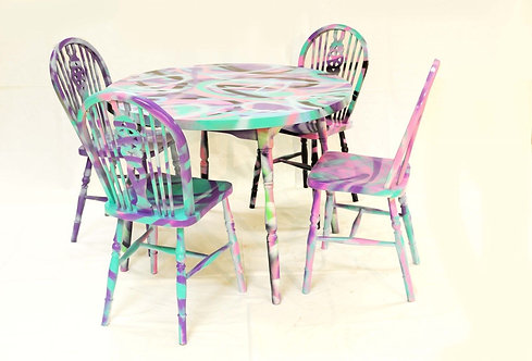 Graffiti dinning table and 4 chairs