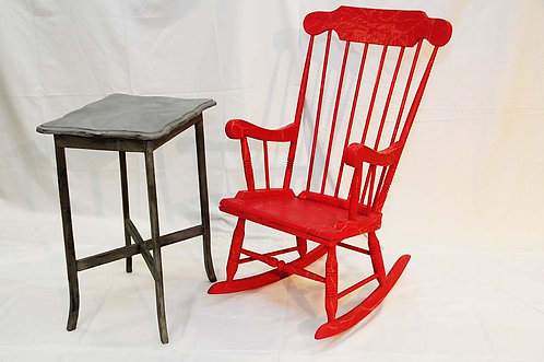 Red Rocking chair & Small grey occasion table