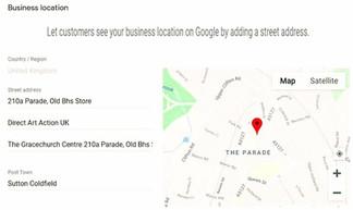 Direct Art Action UK on Google Map, Setting up