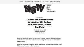 Call for exhibitors: Direct Art Action UK, Gallery and Art Centre, Sutton Coldfield