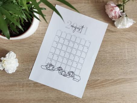 Besplatan kalendar za KOLOVOZ 2021