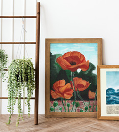 Poppies and waves