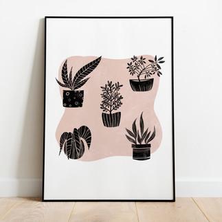 Linocut plants