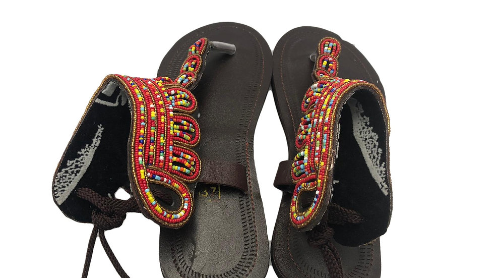 Red Beaded Sandals