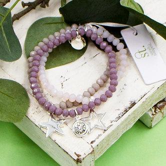 SARAH TEMPEST - Mauve three coloured beaded bracelet