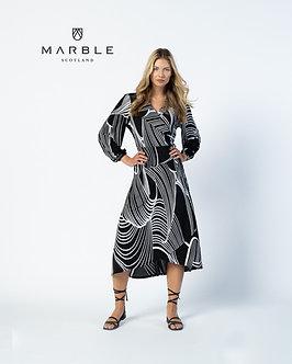 MARBLE - Stylish Black and White wrap dress
