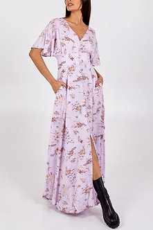 QEDLND - Beautiful Lilac Button front Maxi