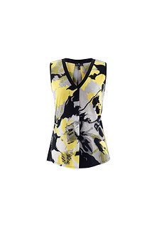 MARBLE - Lovely yellow white and black sleeveless top