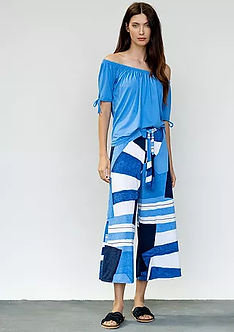 MARBLE - Fab Blue Multi Crop trousers
