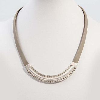 SARAH TEMPEST - Short deco style leather statement necklace,