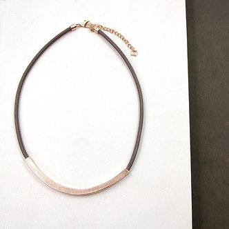 SARAH TEMPEST - Rose Gold Single strand leather necklace.