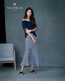 Marble  -  Navy and White stripe Skirt