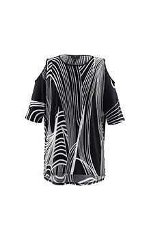 MARBLE - Striking Black/white cold shoulder tunic
