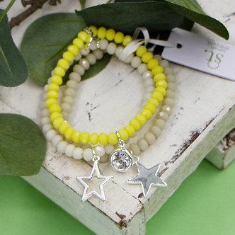 SARAH TEMPEST - Yellow three coloured beaded bracelet