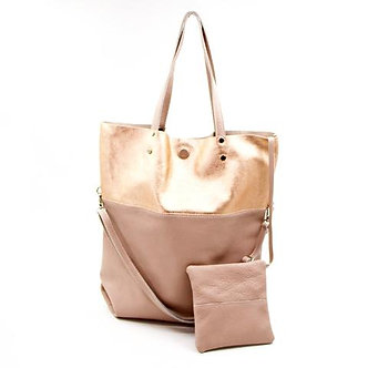 SARAH TEMPEST - Large Two tone Metallic Leather Tote Bagr