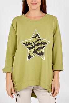 Italy Moda - Star sweatshirt with side zip
