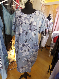 PUR LINO ITALY - Pretty Blue floral Linen Dress