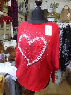 New Collection - Red Pearl Heart Motif Sweaterr