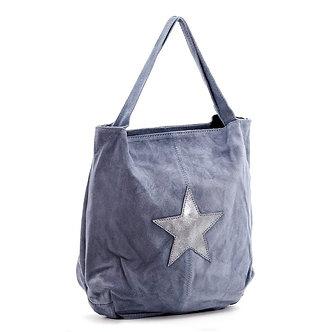 SARAH TEMPEST - Denim suede semi metallic star bag