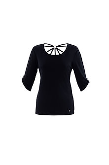 MARBLE - Black cotton top with Strappy back detail
