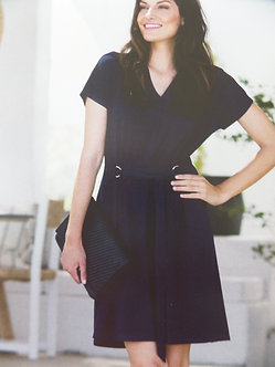 MARBLE - Classic Navy belted dress