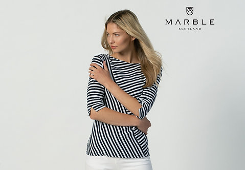 MARBLE - Navy and white stripe top