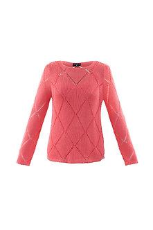 MARBLE - Pretty Coral diamond design sweater