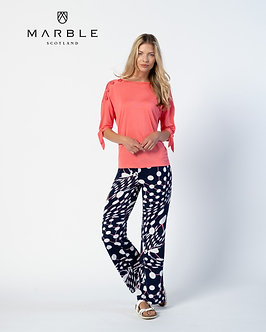 MARBLE - Navy Multi Palazzo Trousers