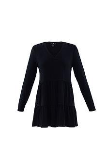 MARBLE - Pretty black tiered tunic