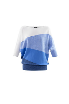 MARBLE  - Blue Multi Batwing Sweater