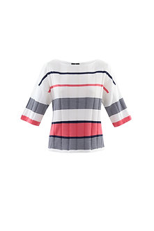 MARBLE - White Navy and Coral Sweater
