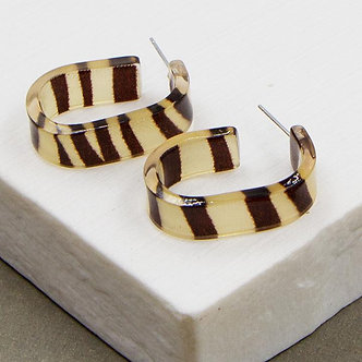 SARAH TEMPEST -Square hoop earrings with Animal Stripe Pattern