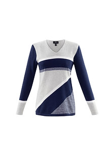 MARBLE -Preppy Navy white and grey sweater