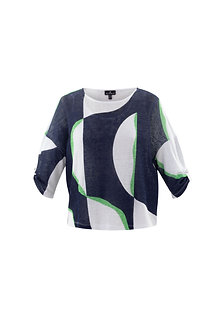 MARBLE -White Navy and Green Multi two piece top