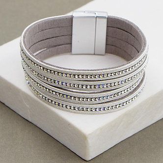SARAH TEMPEST - Multistrand Cuff bracelet with chrystals.