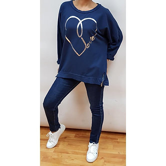 New Collection - Navy Tunic with 'Love' logo