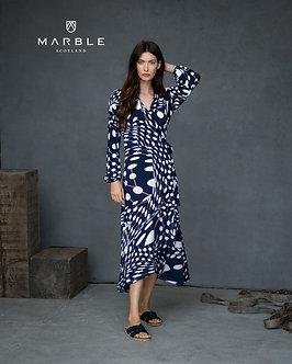 MARBLE - Stylish Navy and white wrap dress