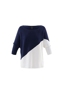 MARBLE -Stylish Navy and White batwing