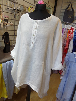 MADE IN ITALY - Curved Hem 4 Button Tunic