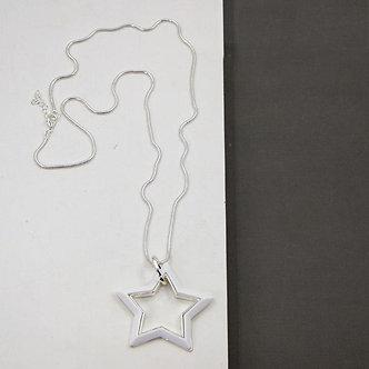 SARAH TEMPEST - white Star Pendant  on long snake chain