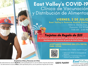 July 2 EVCHC, Pomona Vaccination Clinic & Food Distribution Event