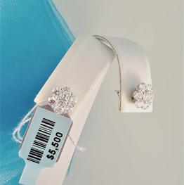 White gold flower earrings
