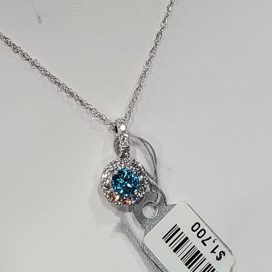 Blue zircon halo pendant