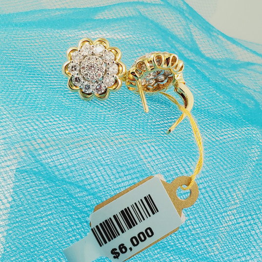 Two tone diamond cluster earrings
