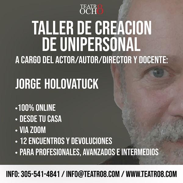 Taller de creación de unipersonal teatra