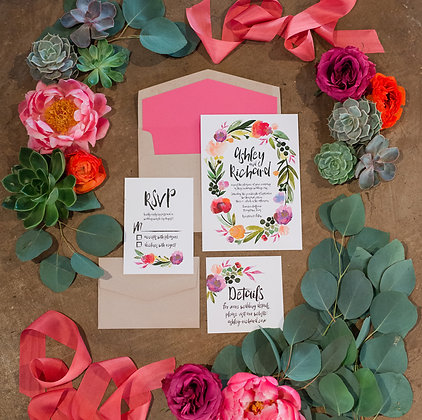 (50) Bold Watercolor Floral Invitations