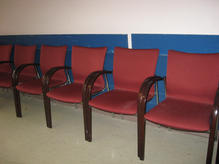 Red waiting room chairs